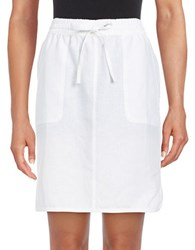 Lord And Taylor Dolphin Hem Linen Skirt White