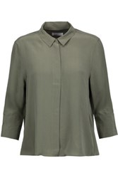 Equipment Esme Washed Silk Blouse Army Green