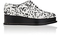 Opening Ceremony Women's Eleanora Flocked Leather Platform Oxfords White Black White Black