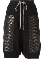 Rick Owens Sequined Drop Crotch Shorts Black