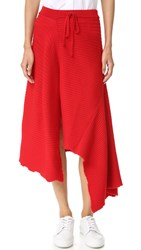 Marques Almeida Panelled Asymmetrical Midi Skirt Red