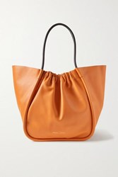 Proenza Schouler Xl Ruched Two Tone Leather Tote Orange