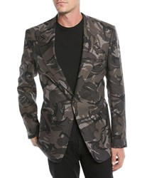 Tom Ford Camouflage Print Linen Two Button Jacket Dark Grey