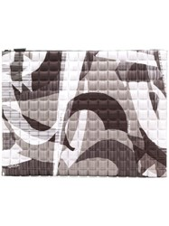 No Ka' Oi Printed Waffled Clutch Grey