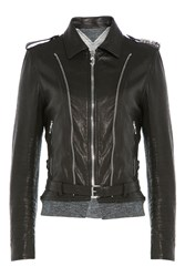 Golden Goose Leather Jacket With Jersey Black