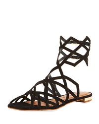Carrano Lindsey Leather Cage Sandal Black