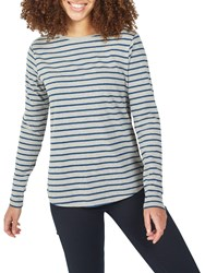 Fat Face Breton Stripe Top Grey Marl