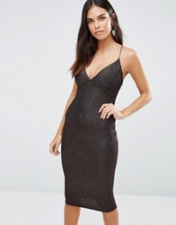 Ax Paris Midi Cami Dress In Glitter Fabric Black Bronze Multi