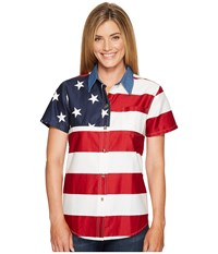 Roper S S Stars And Stripes Pieced Flag Red Women's Short Sleeve Button Up