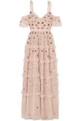 Needle And Thread Celeste Cold Shoulder Embroidered Point D'esprit Tulle Gown Blush