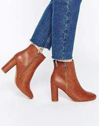 Truffle Collection Alice Zip Heeled Ankle Boots Tan