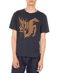 Dries Van Noten Hague Short Sleeve Logo T Shirt Navy