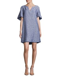 Lord And Taylor Solid Flutter Sleeve Dress Evening Blue