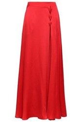 Emporio Armani Woman Lace Up Hammered Silk Satin Maxi Skirt Red