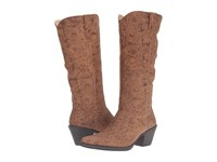 Roper Kristin Tan Faux Leather Embossed Cowboy Boots
