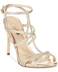 Guess Women's Carnneya Strappy T Strap Dress Sandals Women's Shoes Gold Glitter