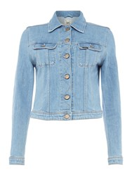 Rider Long Sleeve Slim Jacket In Bleached Stone Denim Light Wash