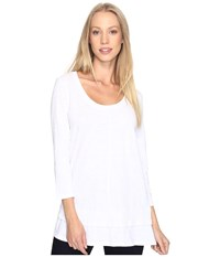 Mod O Doc Slub Jersey 3 4 Sleeve Tunic With Double Layer Hem White Women's Clothing