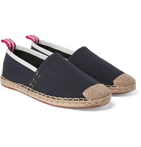 Acne Studios Jose Grosgrain And Leather Trimmed Canvas Espadrilles Midnight Blue