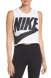 Nike Women's Sportswear Essential Crop Tee White White Black