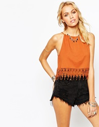Asos Crop Top With Halter Neck And Crochet Trim Auburn