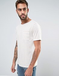 Another Influence Raw Neck Stripe T Shirt Beige