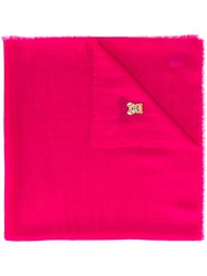 Moschino Frayed Toy Bear Scarf Pink Purple