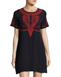 Neiman Marcus Embroidered Short Sleeve Dress Navy