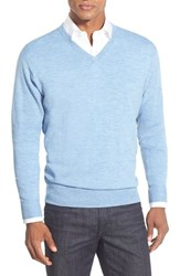 Men's Peter Millar Merino V Neck Sweater Tar Heel Blue