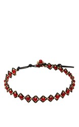 Camellia Westbury Leather And Gems Necklace Red