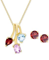 Macy's 18K Gold Plated Sterling Silver Triple Stone Pendant Necklace And Stud Earrings Set