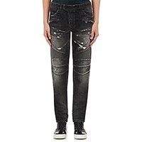 Balmain Men's Washed Biker Jeans Black Blue Black Blue