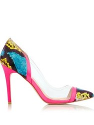 Lucy Choi London Daza Snake Print Perspex Court Shoes Multi