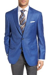 David Donahue Men's Big And Tall Connor Classic Fit Windowpane Wool Sport Coat Blue