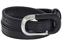Marc Jacobs Icon Double Wrap Leather Bracelet Black Silver Bracelet
