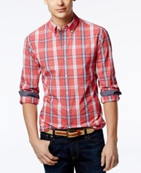 Club Room Men's Wentworth Plaid Contrast Trim Shirt Only At Macy's Fire