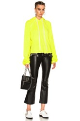 Unravel For Fwrd Cropped Oversized Sleeve Hoodie In Neon Yellow Neon Yellow