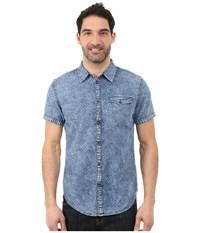 Calvin Klein Jeans Discharge Mini Geo Print Dark Indigo Men's Short Sleeve Button Up Blue