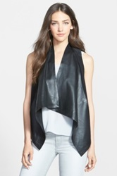 Eileen Fisher The Fisher Project Leather And Silk Drape Front Vest Black