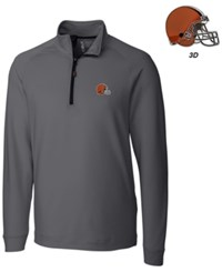 Cutter And Buck Men's Cleveland Browns 3D Emblem Jackson Overknit Quarter Zip Pullover Gray