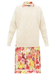 Junya Watanabe Cable Knit Wool And Floral Print Crepe Dress Cream Multi