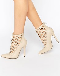 Truffle Collection Skye Cut Out Heeled Shoes Nude Pu