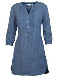 Fat Face Isabel Mini Check Tunic Blouse Indigo