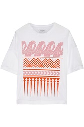 Vionnet Flocked Cotton Jersey T Shirt White
