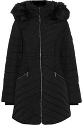Dkny Faux Fur Trimmed Quilted Shell Hooded Coat Black