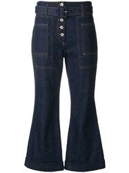Carven High Waist Cropped Jeans Blue
