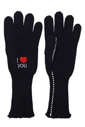 Raf Simons Embroidered Wool Gloves Blue