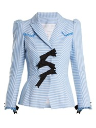 Andrew Gn Striped Bow Embellished Cotton Jacket Blue White
