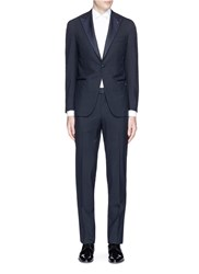 Isaia 'Gregory' Repp Trim Wool Tuxedo Suit Blue