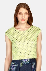 Phoebe Couture Embellished Jacquard Cap Sleeve Top Green Multi